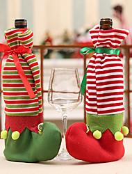 Недорогие -Рождество эльф точка полосы платье шаблон бутылка красного вина обеденный стол крышка украшения партии