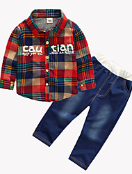 cheap -Baby Boys' Active / Basic Print Print Long Sleeve Regular Regular Clothing Set Red