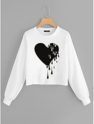 cheap -Women's Casual / Basic Sweatshirt - Heart White S