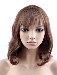 cheap -Synthetic Wig Body Wave Layered Haircut Neat Bang Wig Medium Length Light Brown Synthetic Hair 14 inch Women's Fashionable Design Women Brown