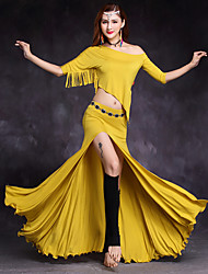 cheap -Belly Dance Skirts Ruffles Tassel Split Women's Training Performance Half-Sleeve Natural Modal