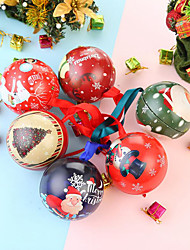 cheap -6PCS Christmas Candy Can Tinplate Round Ball Boxes Galaxy Reindeer Santa Tree Hanging Decorations Party Christmas Gift