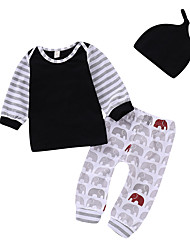 cheap -Baby Boys' Active / Basic Print Print Long Sleeve Regular Regular Clothing Set Black