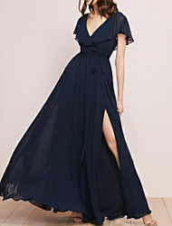 cheap -A-Line Plunging Neck Floor Length Chiffon Bridesmaid Dress with Sash / Ribbon / Split Front / Ruffles / Open Back