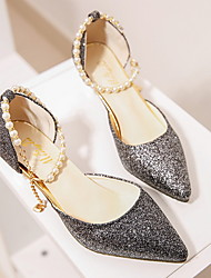 cheap -Women's Heels Glitter Crystal Sequined Jeweled Low Heel Pointed Toe PU Summer Gold / Black / Silver / Daily