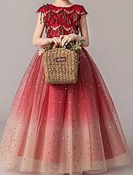 cheap -Kids Girls' Cute Geometric Sleeveless Asymmetrical Dress Red