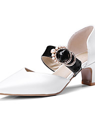 cheap -Women's Heels Low Heel Pointed Toe PU Spring & Summer Black / Light Brown / White / Wedding / Party & Evening