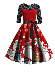 cheap -Women's A Line Dress - Half Sleeve Geometric Print Elegant Christmas Party Red S M XL XXL