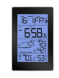 cheap -Digital Alarm Clocks for Bedrooms, Simple Travel Alarm Clock with Indoor Thermometer, Hygrometer, Snooze, Dual Alarm, Loud Buzzer – Black