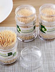 abordables -Cure-dents naturels 300pcs cure-dents en bambou à double tête maison avec boîte à cure-dents