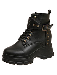 cheap -Women's Boots Creepers Round Toe Casual Daily Rivet PU Booties / Ankle Boots Black / Beige