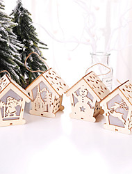 cheap -4pcs Christmas Wooden LED Toys For Home That Glow In The Dark Decor Montessori Toys For Children Christmas Gift