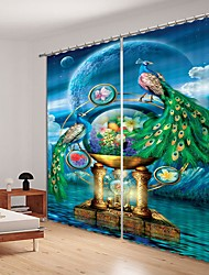 cheap -Crystal Ball Digital Printing Under Peacock 3D Curtain Blackout Curtain High Precision Black Silk Fabric High Quality Curtain