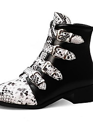 cheap -Women's Boots Print Shoes Low Heel Round Toe PU Booties / Ankle Boots Fall & Winter Black / White