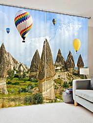 cheap -Hot Air Balloon Digital Printing in The Rock Forest 3D Curtain Shading Curtain High Precision Black Silk Fabric High Quality Curtain