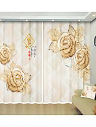 abordables -Chinois doré fleur style numérique impression 3d rideau rideau de haute précision noir tissu de soie de haute qualité salon de première classe rideau