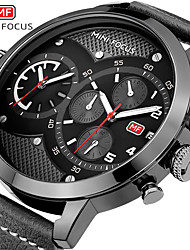 cheap -MINI FOCUS Men's Dress Watch Quartz Formal Style Modern Style Genuine Leather Black / Brown 30 m Water Resistant / Waterproof Chronograph Casual Watch Analog Classic Fashion - Black Brown Blue