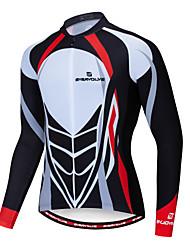cheap -Men's Long Sleeve Cycling Jersey Winter Lycra Black / White Bike Jersey Mountain Bike MTB Road Bike Cycling Breathable Quick Dry Sports Clothing Apparel / Advanced / Stretchy / Advanced