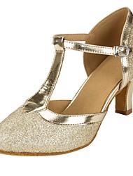 cheap -Women's Modern Shoes / Ballroom Shoes Synthetics T-Strap Heel Glitter Cuban Heel Customizable Dance Shoes Gold / Performance