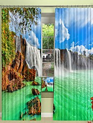 cheap -Landscape Waterfall Digital Printing 3D Curtain Shading Curtain High Precision Black Silk Fabric High Quality Curtain