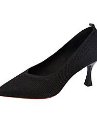 cheap -Women's Heels Stiletto Heel Pointed Toe PU Fall Black / Almond / Party & Evening
