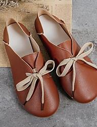 cheap -Women's Flats Flat Heel Round Toe PU Spring & Summer Light Brown / White / Coffee