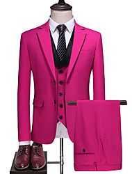cheap -Bubblegum Solid Colored Slim Fit Polyester Suit - Notch Single Breasted Two-buttons