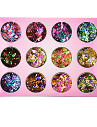 cheap -12 pcs Mixed Color Round Star 3D Ultrathin Sequins Nail Glitter Flakes 1/2/3mm Sparkly DIY Tips Dazzling Paillette Nail Art Decorations