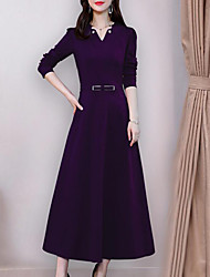cheap -Women's Plus Size Maxi Sheath Dress - Long Sleeve Solid Colored Pleated V Neck Elegant Street chic Black Purple Red M L XL XXL XXXL