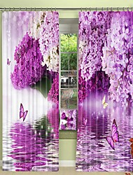 cheap -Purple Hyacinth Digital Printing on Water 3D Curtain Shading Curtain High Precision Black Silk Fabric High Quality Curtain