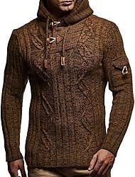 cheap -Men's Striped / Geometric Long Sleeve EU / US Size Pullover Sweater Jumper, Hooded Winter Black / Khaki US38 / UK38 / EU46 / US40 / UK40 / EU48 / US42 / UK42 / EU50