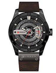 cheap -CURREN Men's Dress Watch Bracelet Watch Quartz Quilted PU Leather Black / Brown Water Resistant / Waterproof Calendar / date / day New Design Analog Classic Casual Fashion - Black / White White