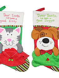cheap -Christmas Stockings Cat Dog NewYear Candy Bag Christmas Tree Ornaments Party Kids Gift Bags