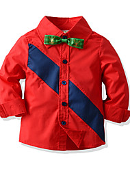 cheap -Kids Toddler Boys' Basic Color Block Christmas Patchwork Long Sleeve Cotton Shirt Red