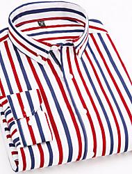 cheap -Men's Work Business / Basic Cotton Slim Shirt - Striped Print Spread Collar Dark Red / Long Sleeve / Spring / Fall