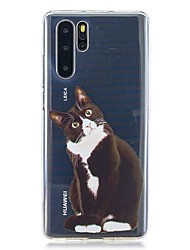 cheap -Case For Huawei P30 / Huawei P30 Pro / Huawei P30 Lite Pattern Back Cover Black Cat TPU for Huawei Y6(2019) / Y7(2019)