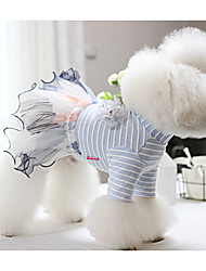 cheap -Dogs Cats Pets Dress Dog Clothes Blue Pink Costume Polyster Voiles & Sheers Wedding S M L XL
