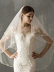 cheap -Two-tier Luxury / Sweet Wedding Veil Shoulder Veils / Elbow Veils with Solid / Paillette Tulle / Angel cut / Waterfall