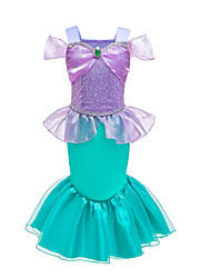 cheap -Kids Toddler Girls' Active Sweet Color Block Cartoon Sequins Ruffle Patchwork Short Sleeve Midi Dress Lavender