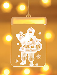 cheap -Holiday Light Christmas LED Fairy Lights Acrylic Warm White 3D Hanging Santa Claus Window Lighting Xmas Decoration