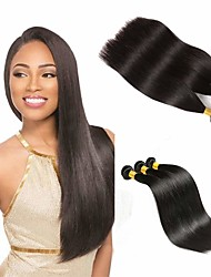cheap -3 Bundles Indian Hair Straight Human Hair 300 g Natural Color Hair Weaves / Hair Bulk One Pack Solution Human Hair Extensions 8-28 inch Natural Color Human Hair Weaves Simple Valentine Creative Human