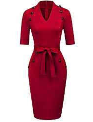cheap -Women's Wine Light Brown Dress Bodycon V Neck S M