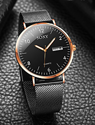 cheap -Men's Dress Watch Quartz Formal Style Mesh Stainless Steel Black / Silver Calendar / date / day Casual Watch Analog Fashion - Black Black / Rose Gold Silver / Black One Year Battery Life