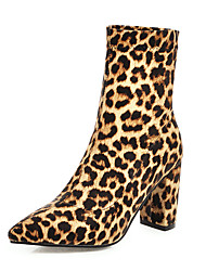 cheap -Women's Boots Print Shoes Chunky Heel Pointed Toe PU Booties / Ankle Boots British / Minimalism Fall & Winter Black / Leopard / Purple / Party & Evening
