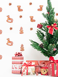 cheap -Merry Christmas Watercolor Sticker Christmas Stockings and Wooden Horse Self-Adhesive Waterproof Wallpaper for Children's Room