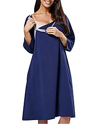 cheap -Women's Knee-length Maternity Purple Black Dress Street chic T Shirt Solid Colored S M