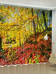 cheap -Red Deciduous Forest Digital Printing 3D Curtain Shading Curtain High Precision Black Silk Fabric High Quality Curtain