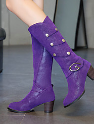 cheap -Women's Boots Chunky Heel Round Toe Buckle Suede Mid-Calf Boots Classic Spring &  Fall / Fall & Winter Black / Purple / Beige / Party & Evening