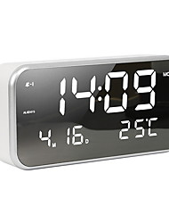 cheap -Small LED Digital Alarm Clock with Snooze Easy to Set Full Range Brightness Dimmer, Adjustable Alarm Volume with 5 Alarm Sounds USB Charger Compact Clock for Bedrooms Bedside Desk 22cm*11cm*5cm