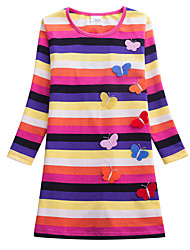 cheap -Kids Girls' Sweet Butterfly Red Striped Rainbow Embroidered Long Sleeve Knee-length Dress Rainbow / Cotton